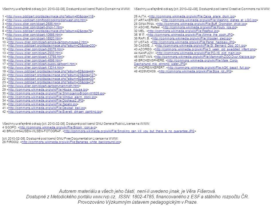 Všechny uveřejněné odkazy [cit. 2010-02-08]